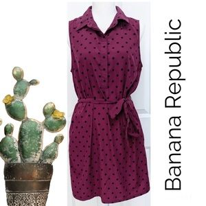 Banana Republic Maroon Navy polka dot dress sz 0